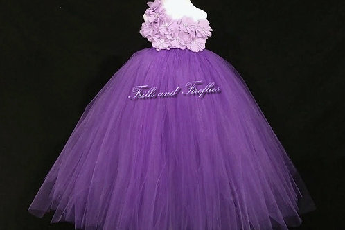 Purple and Lavender One Shoulder Flower Girl Dress/Bridesmaid Dress/Pro