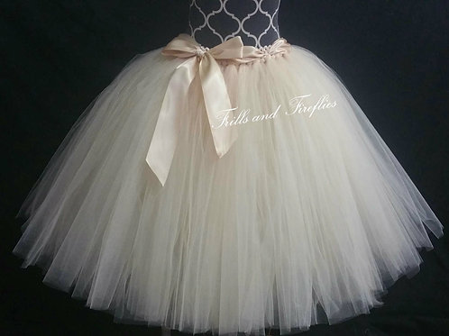 LONG CHAMPAGNE TULLE TUTU SKIRT - Children to Adult Sizes