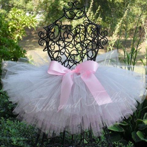Pink and Silver TULLE TUTU SKIRT - Many Colors -Baby to Adult Sizes