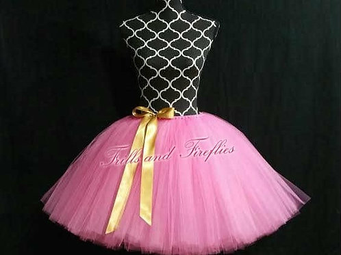 BRIGHT PINK & GOLD TULLE TUTU SKIRT - Many Colors - Baby to Adult Sizes