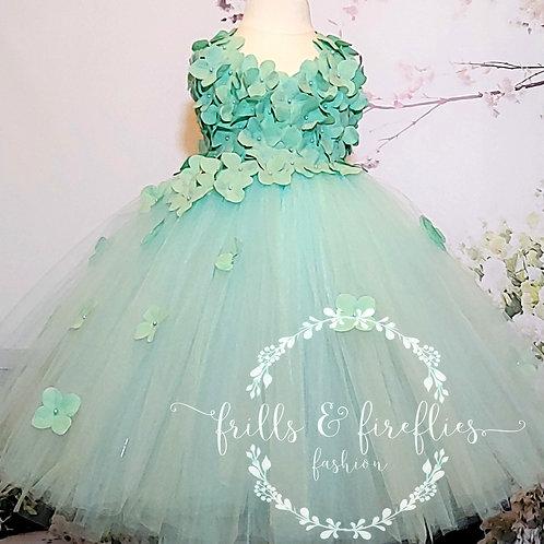 Aqua Mint Petal Shoulder Flower Girl Dress/Bridesmaid Dress/Prom Dress