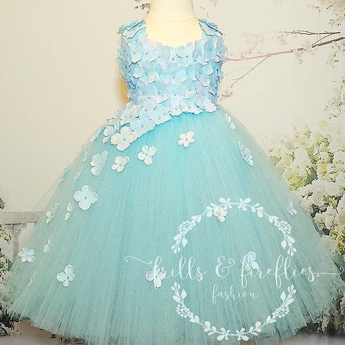 Light Blue Two Petal Shoulder Flower Girl Dress/Bridesmaid Dress/Prom Dr