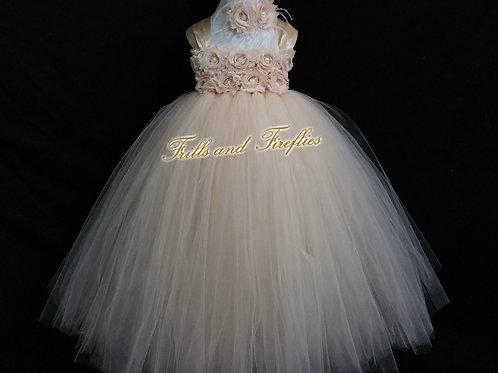 Champagne Shabby Chic Flower Girl Dress