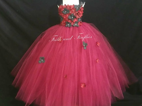 Hot Pink and Charcoal Flower Girl Dress in Sizes 1t up to 12