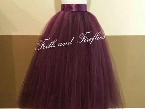 FULL LENGTH PLUM TULLE SKIRT / Maxi Skirt / Bridal Skirt / Skirts f