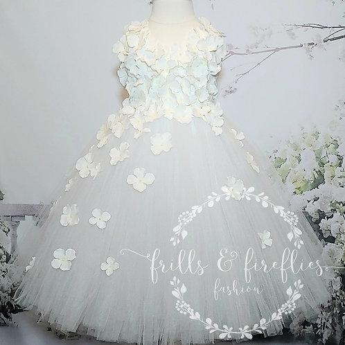 White Petal Shoulder Flower Girl Dress/Prom Dress/Formal Dress/Girls Dresses