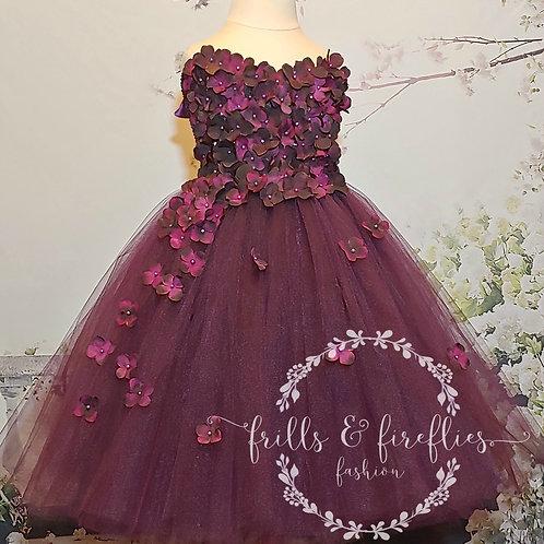 Plum Strapless Flower Girl Dress/Bridesmaid Dress/Prom Dress