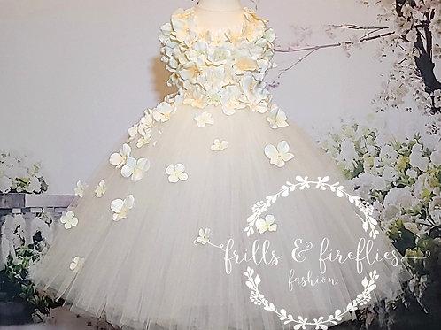 Ivory Cream Petal Shoulder Flower Girl Dress/Bridesmaid Dress/Prom Dress