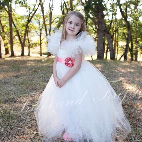 Ivory Flower Girl Dress with Coral Satin Flower Sash..Sizes 2t up