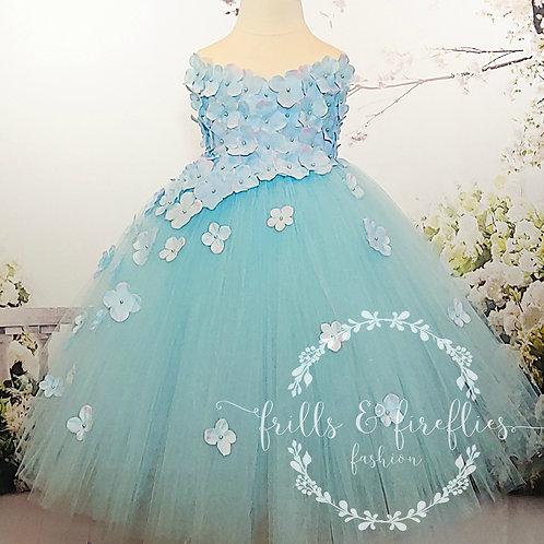 Light Blue Strapless Flower Girl Dress/Bridesmaid Dress/Prom Dress