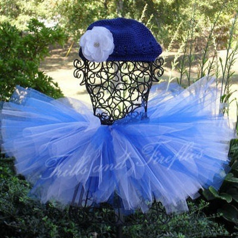 Blue and White Tutu Tulle SKIRT - Many Colors -Baby to Adult Si
