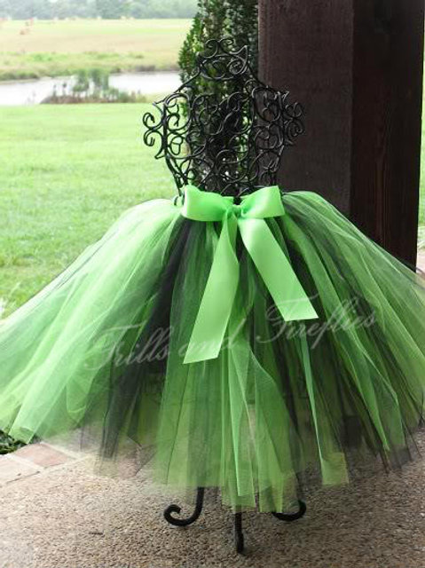 Lime Green and Black TULLE TUTU SKIRT - Many Colors -Baby to Adult Sizes