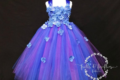 Royal Blue and Plum Flower Girl Dress in Sizes 1t up to 12