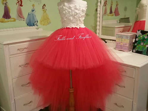 Ivory or White/Coral Flower Girl Dress/High Low Flower Girl Dress/Prom Dress