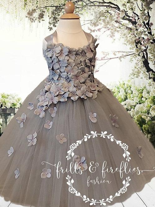 Gray/Grey Satin Shoulder Flower Girl Dress/Bridesmaid Dress/Prom Dress/Girl D