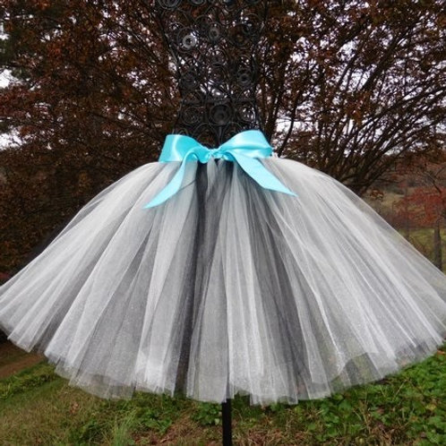 WHITE & BLACK TULLE TUTU SKIRT - Many Colors - Children to Adult Sizes
