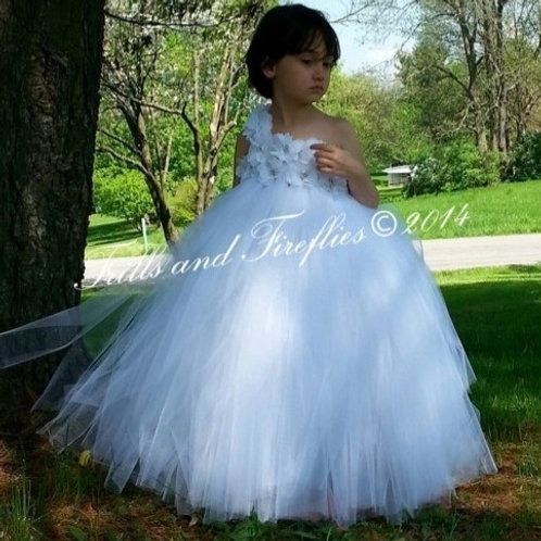 White Classic Flower Girl Dress / Prom Dress / Formal Dress
