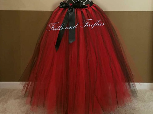 LONG BLACK & RED TULLE TUTU SKIRT - Children to Adult Sizes