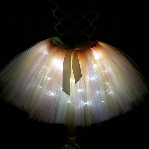 Old Gold and Dusty Rose LED Lighted Tulle Tutu Skirt -Many Colors -Baby to Adult