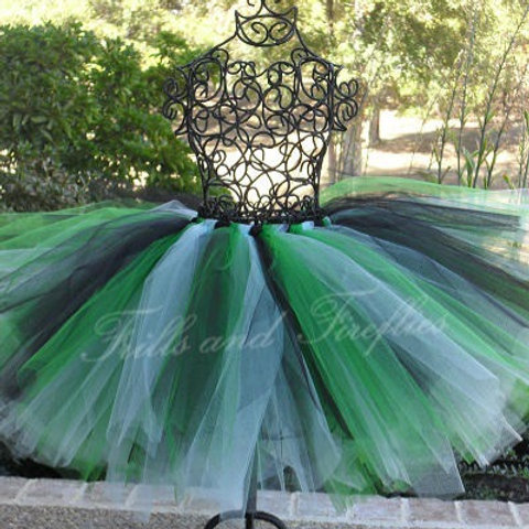 Black, Green and White Tutu Tulle SKIRT - Many Colors -Baby to Adult Si