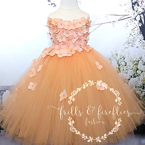 Peach Strapless Flower Girl Dress/Bridesmaid Dress/Prom Dress/Wedding