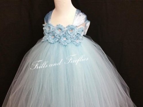 Light Blue Shabby Chic Flower Girl Dress/Prom Dress/Formal Dress/Baby to Sz 12