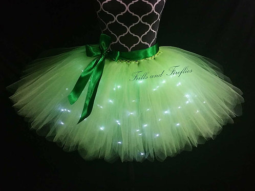 Green LED Lighted Tulle Tutu Skirt - Many Colors Available - Baby to Adul