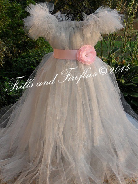 Gray/grey Flower Girl Dress with Pink Satin Flower Sash..Sizes 2t up