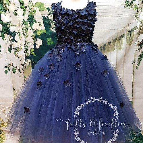 Navy Blue Hydrangea Flower Girl Dress / Bridesmaid Dress / Prom Dress / Wedding