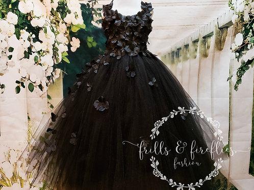 Black Hydrangea Dress/ Halloween Wedding / Halloween Costume Party / Photo Shoot