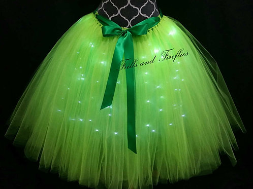 Green LED Lighted Tulle Tutu Skirt - Many Colors Available - Baby to Adult Sizes