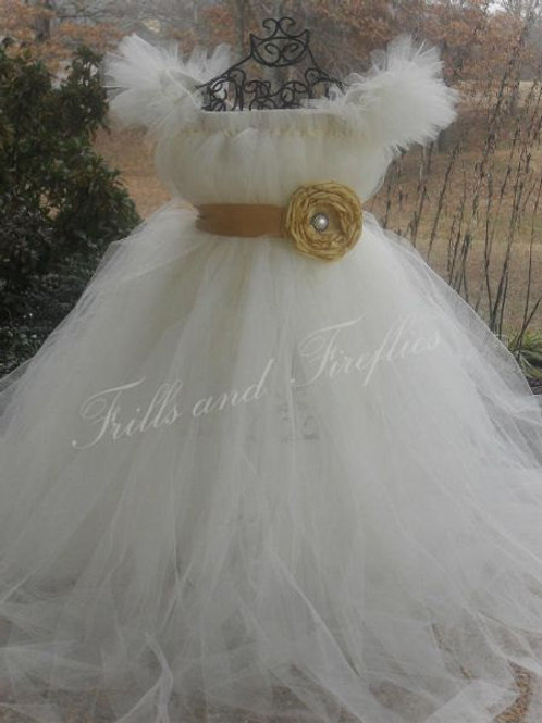 Ivory Flower Girl Dress with Marigold Satin Flower Sash..Sizes 2t up to 16