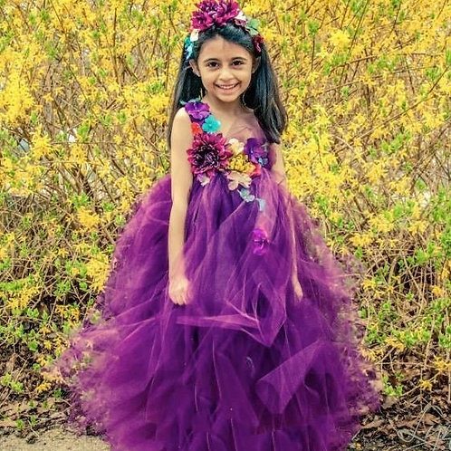 Plum Woodland Fairy 3 Flower Girl Dress / Plum Fairy Dresses /Princess Dre