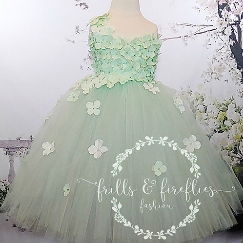 Mint Green One Shoulder Flower Girl Dress/Bridesmaid Dress in Sizes 1t up