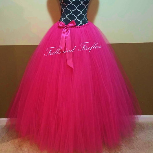 LONG HOT PINK TULLE TUTU SKIRT - Children to Adult Sizes
