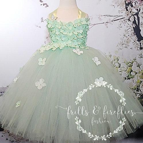 Mint Green Satin Shoulder Flower Girl Dress/Bridesmaid Dress/Prom Dres