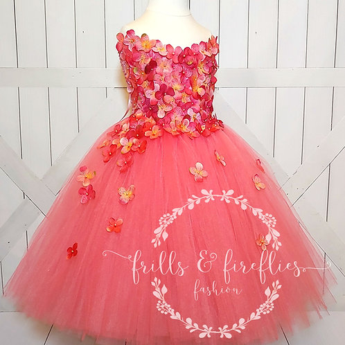 Coral Strapless Hydrangea Flower Girl Dress/Bridesmaid Dress/Prom Dress