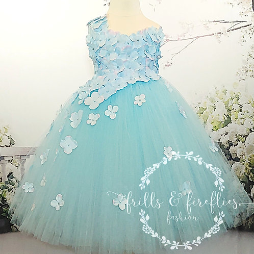 Light Blue One Petal Shoulder Flower Girl Dress/Bridesmaid Dress/Prom Dr