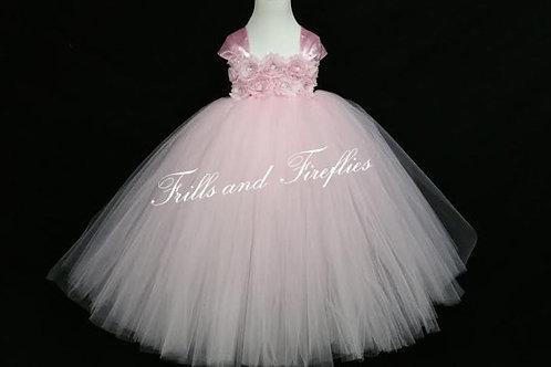 Pink Shabby Chic Flower Girl Dress/Prom Dress/Formal Dress/Baby up to Sz 12