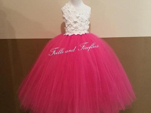 White/Hot Pink Flower Girl Dress / Flower Girl Dresses / Bridesmaid Dress