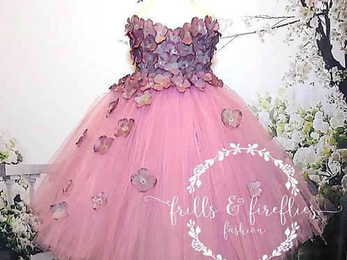 Mauve Strapless Flower Girl Dress/Bridesmaid Dress/Prom Dress/Wedding