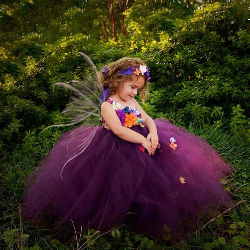 Plum Woodland Fairy Flower Girl Dress / Plum Fairy Dresses /Princess Dress/Fairy