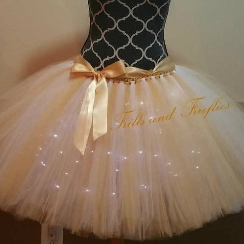 Gold LED Lighted Tulle Tutu Skirt - Many Colors Available - Baby to Adult Sizes