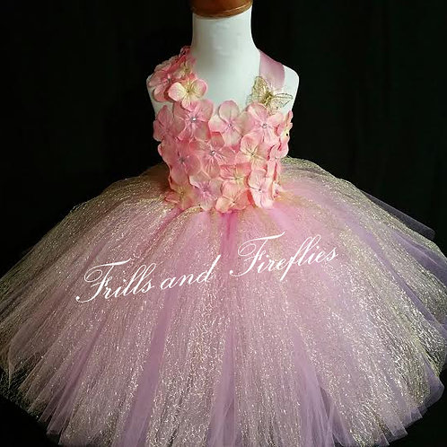 Pink and Gold Flower Girl Fairy Dress, Other Colors Available Sizes 1t u