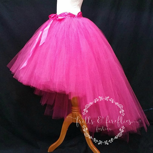 Hot Pink High Low Tulle Tutu Skirt - Many Colors - Baby to Adult Sizes