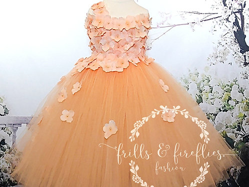 Peach One Shoulder Flower Girl Dress/Bridesmaid Dress in Sizes 1t up to 12