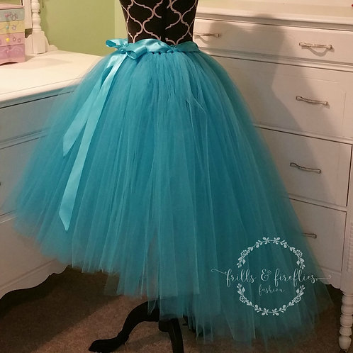 Turquoise High Low Tulle Skirt - Many Colors - Baby to Adult Sizes