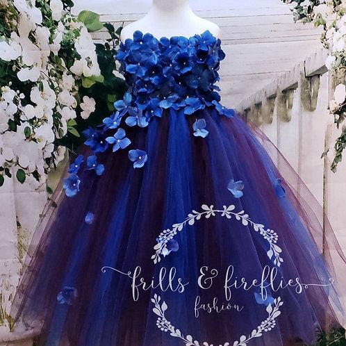 Royal Blue/Wine Strapless Flower Girl Dress/Bridesmaid Dress/Prom Dress/Wedding