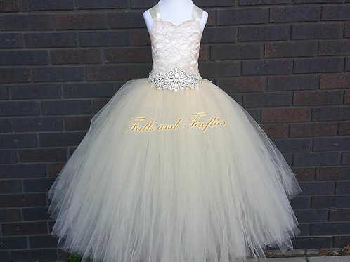 Champagne Lace Corset Style Flower Girl Dress Baby Size 1t up to Children's S