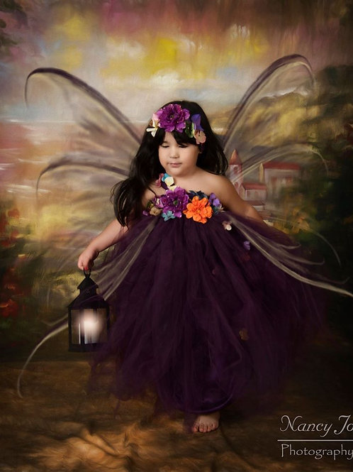 Eggplant Woodland Fairy Flower Girl Dress / Plum Fairy Dresses /Princess